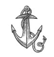 anchor and rope engraving style vector image vector image