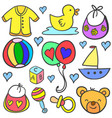 art of baby set style doodles vector image vector image