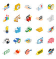 banking house icons set isometric style vector image vector image