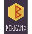Berkano rune of Elder Futhark in trend flat style vector image vector image
