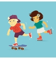 Boy and Girl Rollerblading vector image vector image