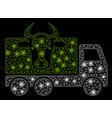 bright mesh wire frame cow transportation with vector image vector image