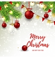 Christmas banner with red and glass balls vector image vector image