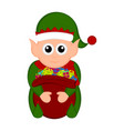 christmas elf holding a present bag vector image vector image