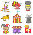 collection stock circus theme doodles vector image vector image