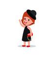 cute fashion girl in black polka-dot dress hat vector image