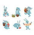 easter bunnies cartoon collection vector image