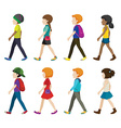 Faceless children walking vector image vector image