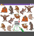 find two same cartoon animals educational game vector image vector image