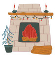 fireplace decorated with garlands and candles vector image
