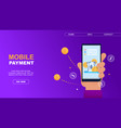 flat banner mobile payment on lilac background vector image