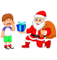 funny Santa Claus cartoon giving a gifts to little vector image vector image