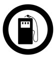gas stration icon black color in circle vector image vector image