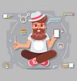 geek hipster meditate smartphone futuristic vector image vector image