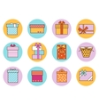 Gift Boxes Outline Color Set vector image vector image