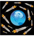 globe empire state rocket vector image vector image