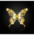 Gold abstract butterfly on black background vector image vector image