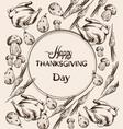 happy thanksgiving dinner menu line art turkey vector image vector image