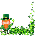 Irish man with Shamrock frame for St Patricks Day vector image vector image