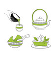 japanese ceremony with matcha hands holding vector image
