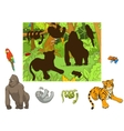 Jungle animals cartoon educational game vector image