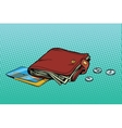 Leather wallet with credit card and cash vector image vector image