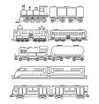 Line art train icons vector image vector image