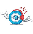 Listening music electroneum coin mascot cartoon vector image