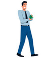 man counting money vector image