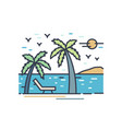 outline colorful vacation scenery line art beach vector image