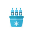 portable fridge refrigerator with water bottle vector image