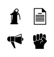 protest strike riot simple related icons vector image vector image