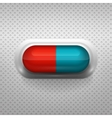 Red and blue capsule pill with background vector image