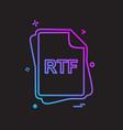 rtf file type icon design vector image