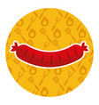 sausage on yellow background vector image