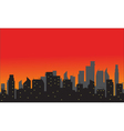Silhouette of city with red background vector image vector image