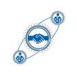 successful business creative logo handshake sign vector image vector image
