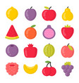 sweet fruits isolated colorful icons set vector image