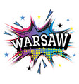warsaw comic text in pop art style vector image vector image
