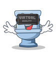 with virtual reality toilet character cartoon vector image vector image