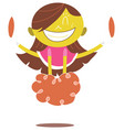 young yellow cheerleader cheering and jumping vector image vector image