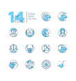 zodiac signs - set of line design style icons vector image vector image