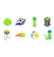 balls icon set isometric style vector image