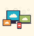 Concept of cloud service and mobile devices trendy vector image
