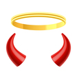 Angels halo and devils horns vector image