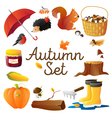Autumn Icons Set Round Composition Poster vector image