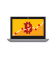 bitcoin statistic chart laptop computer graphic vector image