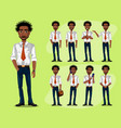 black man in a business style set of poses and vector image