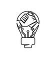 bulb hand commitment teamwork together outline vector image