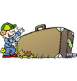cartoon of an traveling boy with his suitcase vector image vector image